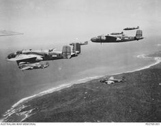 Dutch No.18 (NEI) Squadron B-25 Mitchell bombers flying from Batchelor Airfield in 1944, on the way to attack Japanese harbors, shipping lines and occasionally, submarines. One of the prominent pilots of that  No. 18 Squadron, was Lt. Ben Wetters, the father of my lifetime friend Ben.  In 1942, Lt. Wetters had departed to California with another Dutch pilot for making the ferry flight of their first B-25 to Canberra, Australia, where Dutch pilots were further trained on the type.