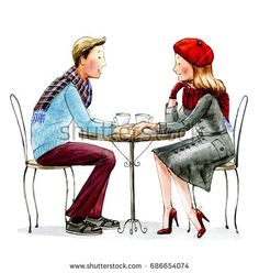 Man and women sitting next to each other at the round table.Watercolor illustration.