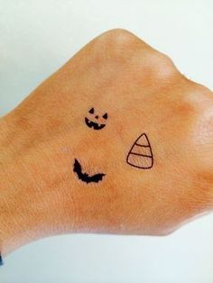Halloween Collection Temporary Tattoo Tiny | Fake Tattoos | Set of 15 | Bats, Candy Corn, Pumpkin | Jack-o-lantern