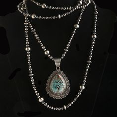Long Varying Silver Beads Necklace - Native American Artisans - National Cowboy Museum