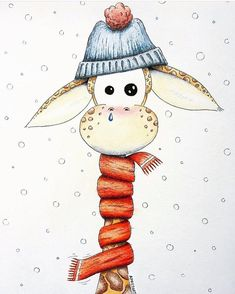 Just convert this winter art, with a bit of summer dress Art Drawings Sketches, Animal Drawings, Cute Drawings, Giraffe Drawing, Giraffe Art, Cute Cartoon, Cartoon Art, Winter Christmas Scenes, Winter Drawings