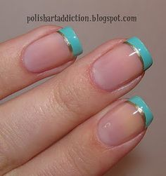 Nail art, blue French tips with silver line, nails