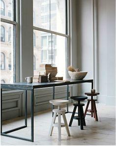 communal table overlooking window
