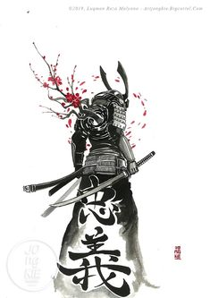 Ink & Watercolor Arts by Jongkie Japanese Tattoo Symbols, Japanese Tattoo Art, Japanese Sleeve Tattoos, Japanese Art Samurai, Japanese Artwork, Samurai Drawing, Samurai Artwork, Arte Ninja, Ninja Art