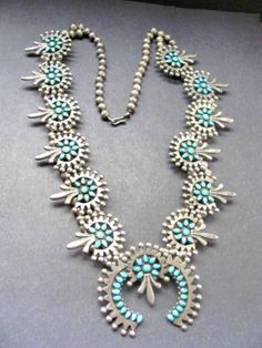 Old Pawn Zuni Petit Point Sleeping Beauty Turquoise Squash Blossom Necklace | eBay