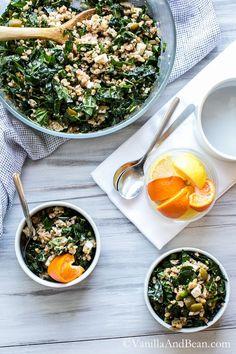 Farro, Kale and Olive Salad with Citrus Vinaigrette | Vanilla And Bean #Vegetarian: