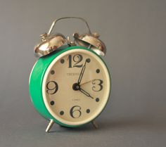 Vintage Soviet Teal Mechanical Alarm Clock with Twin Bells