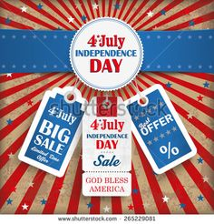 Independence day retro flyer with blue banner. Eps 10 vector file.