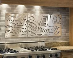 A diptych panel (Whale and Salmon) for the kitchen cut in matte aluminum with stainless steel standoffs . Designed by Sabina Hill with native artwork by Mark Preston (Tlingit). Native Art, Native American Art, Haida Art, Native Design, Metal Panels, Canadian Art, Metal Artwork, Coastal Art, Indigenous Art
