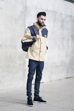 The North Face jacket with slim jeans