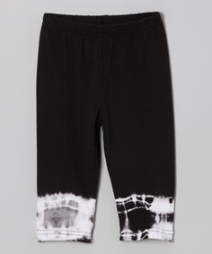 Another great find on #zulily! Black Tie-Dye Capri Pants - Toddler & Girls by One Love Kids #zulilyfinds