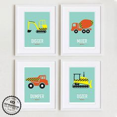 Kids Bedroom Art construction art, kids wall art, construction decor