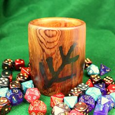 Lovecraft Elder Sign Wooden Dice Cup / Pencil Cup - Hand Turned, Cedar, Rustic look The Shadow Over Innsmouth, Wooden Dice, Eldritch Horror, Cupped Hands, Pencil Cup, Gaming Accessories, Cthulhu, Wooden Signs, Rustic