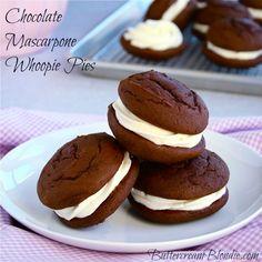 Chocolate Mascarpone Whoopie Pies on http://buttercreamblondie.com
