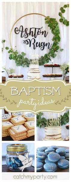 Take a look at this lovely rustic baptism! The dessert table & backdrop are gorgeous!! See more party ideas and share yours at CatchMyParty.com #rustic #baptism