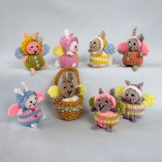 Fairy Bunnies and basket knitting pattern INSTANT by dollytimeBedtime Bunny plus tiny toy bunny and sleeping bag.Ravelry: Designs by Wendy Phillips Double Knitting, Loom Knitting, Hand Knitting, Knitted Bunnies, Knitted Dolls, Bunny Toys, Baby Bunnies, Little Cotton Rabbits, Bunny And Bear
