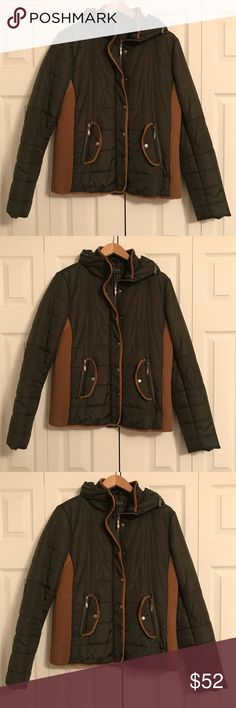 Green and Tan, MintanaCo winter Jacket. Green and Tan, MintanaCo winter Jacket. With buttons and zippers, pockets, and a good!  Good for both casual and business wear! Worn a handful of times— excellent condition! Montana Clothing Company Jackets & Coats
