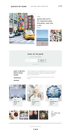 Bursts of Samm's new website design is built on Squarespace and looks amazing on Station Seven's Acadia Squarespace design kit!