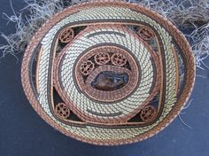 by Ruth Danger,Sweet Grass & Pine Needle Tray Basket by pineneedleperfection, $225.00