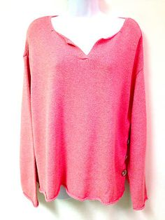 New J Jill Womens Pink White Tweed LS Knit Pullover Sweater Buttons L