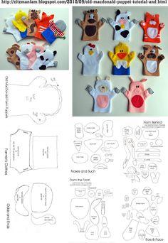 Old MacDonald Puppet Tutorial and Pattern Felt Puppets, Puppets For Kids, Felt Finger Puppets, Quiet Book Patterns, Felt Patterns, Animal Hand Puppets, Puppet Tutorial, Finger Puppet Patterns, Operation Christmas Child