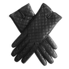 Ladies Black Leather Quilted Gloves with Cashmere Lining To Buy Online