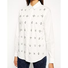 ASOS Embellished Shirt (€29) ❤ liked on Polyvore featuring tops, asos shirts, jeweled shirt, regular fit shirts, asos tops and shirt top