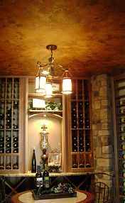 Taste of Tuscany finish on wine room ceiling at Parade of Homes, Solterra, Lakewood CO