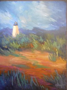 """Small Landscape, Lighthouse Painting, Daily Painting, Small Oil Painting, """"Lighthouse on the Marsh"""" Vango Art, Lighthouse Painting, Daily Painters, Selling Art, Texture Painting, Beach Themes, Dog Art, Beautiful Paintings, Landscape Paintings"""