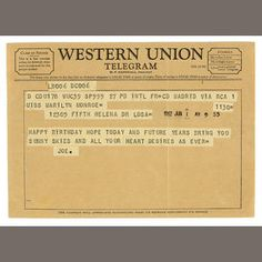 A Marilyn Monroe-received Western Union telegram from Joe DiMaggio for her last birthday, June 1962 Marilyn Monroe, Martinez California, Hollywood Florida, Joe Dimaggio, Candle In The Wind, Bad Picture, Western Union, Norma Jeane, Hit Songs