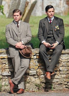 Downton Abbey Season 5: Finery: The gentlemen of Downton, Tom Branson and Thomas Barrow were dressed up in full suits, with some even wearing their war medals as a ...