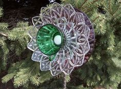 Suncatcher Garden Yard Ornament Upcycled Glass Holly