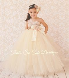 That's So Cute Boutique- Champagne Ivory and Lace Flower Girl Tutu Dress-champagne, ivory, lace, tan, burlap, rustic, tutu dress, flower girl, vintage, country, brown