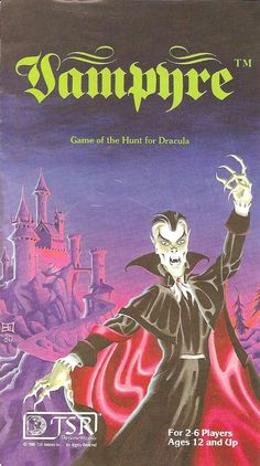 Vampyre - one of TSR's few entires into the mini-game market. This one recreated Harker's pursuit of Dracula across the Transylvanian countryside. Vintage Board Games, Fun Board Games, Gary Gygax, Advanced Dungeons And Dragons, Blur Image, Mini Games, Dragon Art, Dracula, Vintage Ads