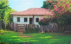 Claudio Vinicius-Poeta das Cores Scenery Paintings, Small Farm, Farm Life, Cottage, Cabin, Watercolor, Fine Art, Landscape, House Styles