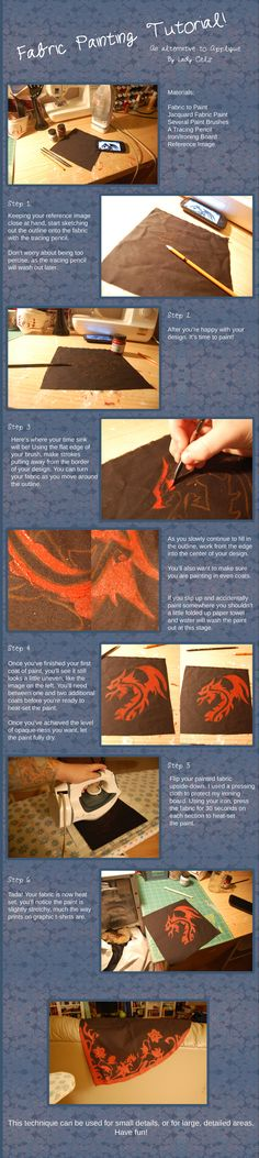 Fabric Painting Tutorial by DragonLadyCels.deviantart.com on @deviantART