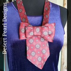 Gorgeous necklace made from an upcycled silk tie by Desert Pearl Designs on Etsy.