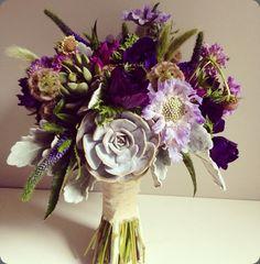 Wildflower bouquet by Blush Floral Design Studio. Succulents and eggplant flowers. Jonathan Edwards Vineyard, N. Stonington, CT Wedding