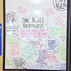 """Happy National """"Pretend To Be A Time Traveler Day!"""" ⌛️ I love seeing that I've rubbed off my love of US History with some of their answers!  #miss5thswhiteboard #5thgradeinfloridaswhiteboard #nationalpretendtobeatimetravelerday #timetravel #Floridateachers #iteach345 #iteach456 #iteach5th #iteachfifth"""