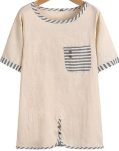 Apricot Short Sleeve Contrast Striped Pocket T-Shirt pictures