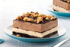Peanut-Chocolate Mud Pie Squares recipe:       photo by:   kraft                           This chilled mud pie is stacked with chocolate pudding and peanut butter fluff for a crunchy, creamy, icy take on a restaurant favorite. From Kraft Recipes.
