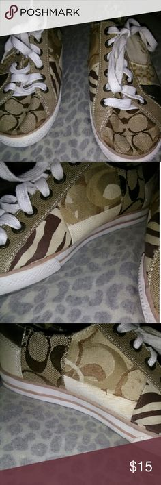 Coach sneakers size 7 M Tonya no box,no tags Coach sneakers size 7 M Tonya no box,no tags,sone staining,please look closely at pictures for ware and tare,pet free,odor free,no burns some staining still these are very trendy Coach Shoes Sneakers