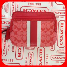 'Coach NWT Stripe Double Zip Coin Wallet ' is going up for auction at  1pm Wed, Oct 16 with a starting bid of $1.