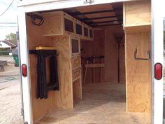 Portable Cargo Trailer Workshop : 3 Steps (with Pictures) - Instructables Trailer Shelving, Van Shelving, Trailer Storage, Truck Storage, Work Trailer, Trailer Build, Utility Trailer, Van Storage, Tool Storage