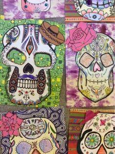 Art at Becker Middle School: Day of the Dead Skulls Halloween Art Projects, Fall Art Projects, Classroom Art Projects, Art Classroom, Halloween Prop, Halloween Witches, Happy Halloween, Halloween Decorations, 7th Grade Art