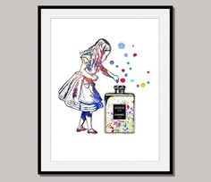 ALICE Alice's ADVENTURES in Wonderland art print poster designed for 10 x 8 inch watercolor wall decor digital Coco Chanel by interiorart on Etsy https://www.etsy.com/listing/206444343/alice-alices-adventures-in-wonderland