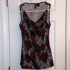 Sleeveless Blouse Great dress up or Happy Hour (Blk, Red, Slvr ~ Leopard print) New Directions Tops Blouses