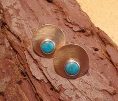 Brass sterling and turquoise post earrings by RustyWing on Etsy