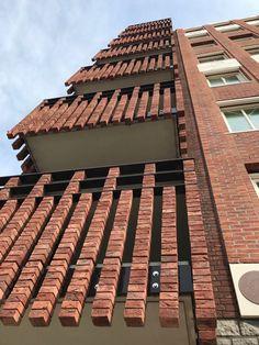 Brick Work, Architecture  #brick #architecture #brickwork Brick Design, Facade Design, Exterior Design, Brick Masonry, Brick Facade, Building Facade, Building Design, Brick Projects, Brick Works