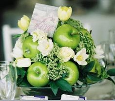 Love this idea of using fruit in a centerpiece for the Gala.  Plus it has the beautiful green.